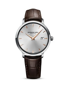 Raymond Weil Toccata Stainless Steel Watch with Brown Leather Strap, 39mm - Bloomingdale's_0