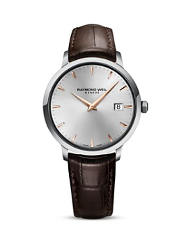 Raymond Weil - Toccata Stainless Steel Watch with Brown Leather Strap, 39mm