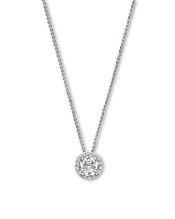Bloomingdale's - Diamond Halo Pendant Necklace in 14K White Gold, .35 ct. t.w. - 100% Exclusive