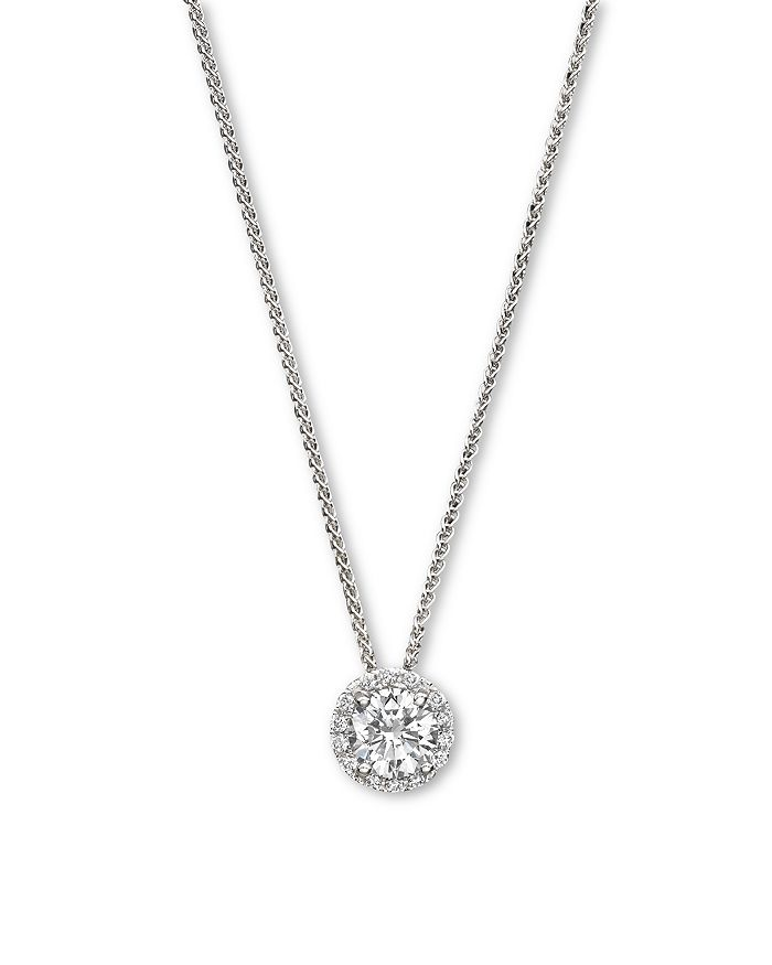 Bloomingdale's - Diamond Halo Pendant Necklace in 14K White Gold, .20 - .35 ct. t.w. - 100% Exclusive