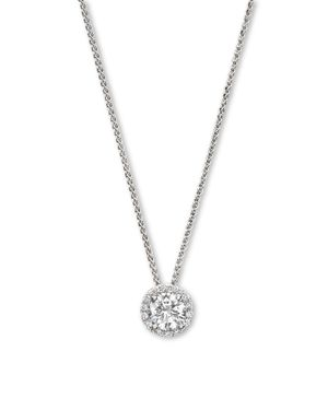 Diamond Halo Pendant Necklace in 14K White Gold, .25 ct. t.w. - 100% Exclusive