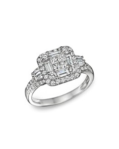Bloomingdale's - Diamond Princess Cut Statement Ring in 14K White Gold, 1.30 ct. t.w.- 100% Exclusive