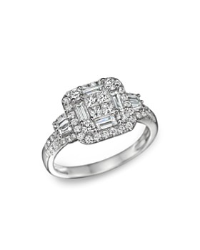 Bloomingdale's - Diamond Princess Cut Statement Ring in 14K White Gold, 1.30 ct. t.w. - 100% Exclusive