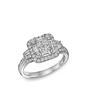 Diamond Princess Cut Statement Ring in 14K White Gold, 1.30 ct. t.w. - 100% Exclusive