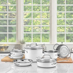 Cuisinart - 11-Piece Chef's Classic Cookware Set, Stainless Steel & White - 100% Exclusive