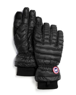 Lightweight Quilted Down-Filled Gloves, Black