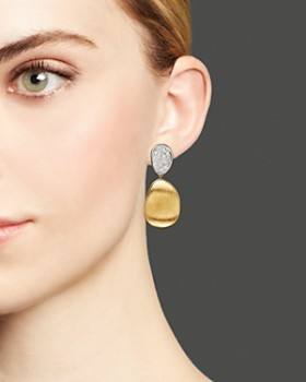 Marco Bicego - Diamond Lunaria Two Drop Small Earrings in 18K Gold