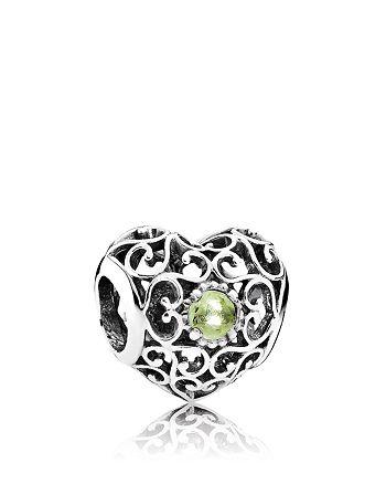 PANDORA - Charm - Sterling Silver & Peridot August Signature Heart