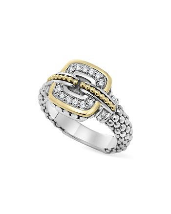 LAGOS - Sterling Silver and 18K Gold Caviar Ring with Diamonds