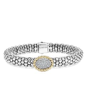 Lagos Oval Diamond Station Sterling Silver Caviar Bracelet with 18K Gold