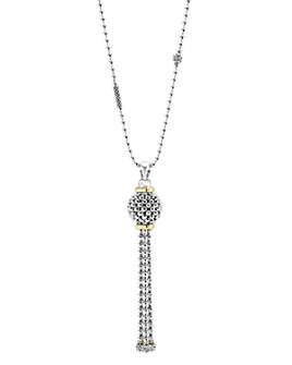 LAGOS - Caviar Tassel Sterling Silver Pendant Necklace with 18K Gold, 36""