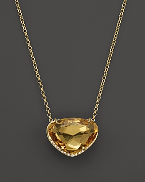 Vianna Brasil 18K Yellow Gold Necklace with Citrine and Diamond Accents, 16.5