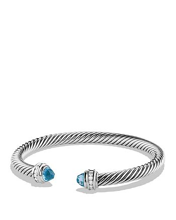 David Yurman - Cable Classics Bracelet with Blue Topaz and Diamonds