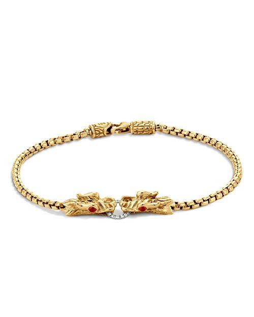 JOHN HARDY - John Hardy Naga 18K Yellow Gold Box Chain Bracelet with Diamonds and African Ruby Eyes