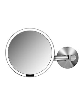 """simplehuman - Wall-Mount Sensor Makeup Mirror, 8"""", 5x Magnificaiton"""