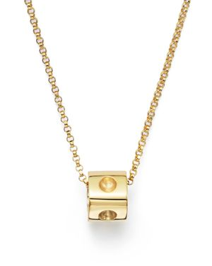 Roberto Coin 18K Yellow Gold Pois Moi Mini Cube Pendant Necklace, 16