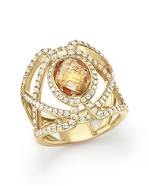 Citrine and Diamond Geometric Ring in 14K Yellow Gold - 100% Exclusive
