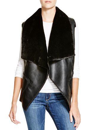 BLANKNYC - Faux Shearling Drape Front Vest