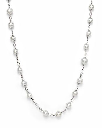 """Bloomingdale's - 18K White Gold and Cultured South Sea Pearl Necklace with White Sapphires, 42""""- 100% Exclusive"""