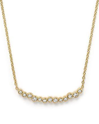 "IPPOLITA - 18K Gold Glamazon® Stardust Skinny Smile Bar Necklace with Diamonds, 16"""