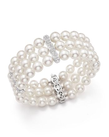 Bloomingdale's - Cultured Freshwater Pearl and Diamond Bracelet in 18K White Gold - 100% Exclusive
