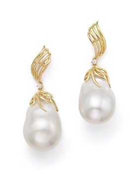 Bloomingdale S Cultured Freshwater Pearl And Diamond Drop Earrings In 18k Yellow Gold 100