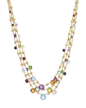 Marco Bicego 18K Yellow Gold Paradise Three Strand Mixed Stone Necklace, 16.5