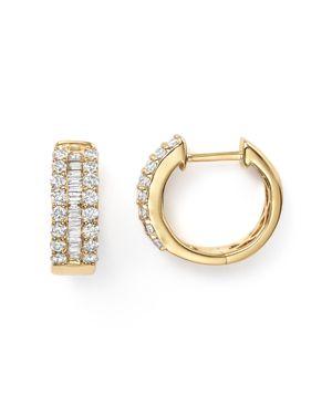 Diamond and Baguette Hoop Earrings in 14K Yellow Gold, .85 ct. t.w.