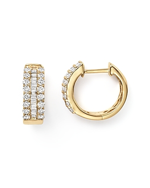 Diamond and Baguette Hoop Earrings in 14K Yellow Gold, .85 ct. t.w.