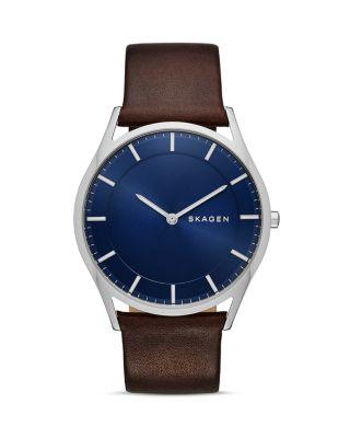 SKAGEN Men'S Holst Brown Leather Strap Watch 40Mm Skw6237 in Blue