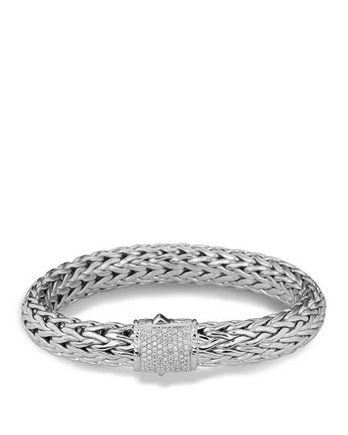 JOHN HARDY - Classic Chain Sterling Silver Large Bracelet with Diamond Pavé