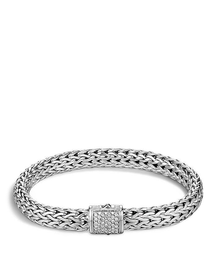 JOHN HARDY - Classic Chain Sterling Silver Medium Bracelet with Diamond Pavé