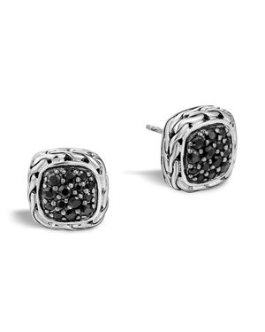 John Hardy Kali Lava Small Square Stud Earrings with Black Sapphire