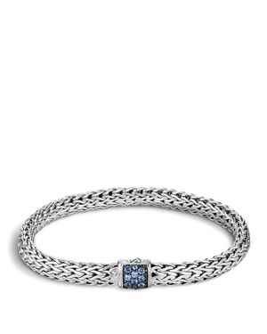 John Hardy Classic Chain Sterling Silver Lava Small Bracelet with Blue Sapphire