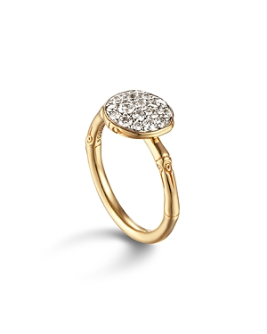 John Hardy Bamboo 18K Gold and Diamond Pave Small Round Ring
