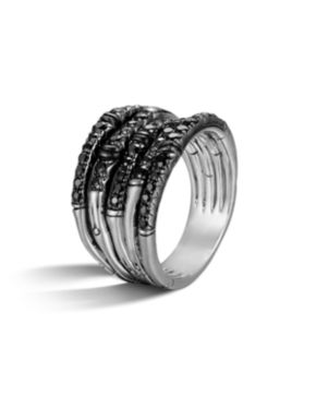 John Hardy Bamboo Wide Silver Lava Ring with Black Sapphire 4abGiJ