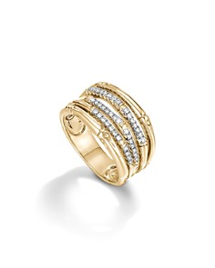 John Hardy Hammered Band Ring With Diamonds u1AHy