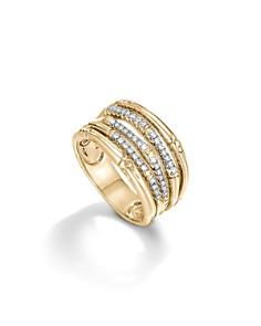John Hardy Bamboo 18K Yellow Gold Diamond Pavé Wide Ring - Bloomingdale's_0