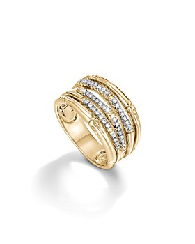 JOHN HARDY - Bamboo 18K Yellow Gold Diamond Pavé Wide Ring