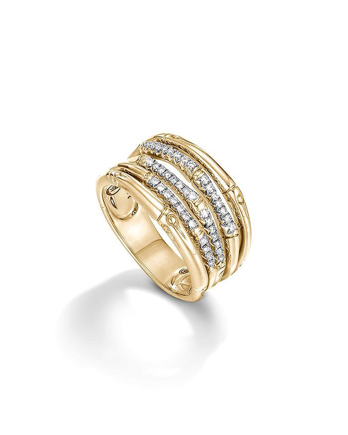 JOHN HARDY - Bamboo 18K Yellow Gold Diamond Pavé Wide Ring