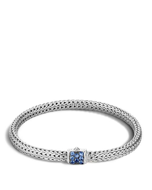 JOHN HARDY - Classic Chain Sterling Silver Lava Extra Small Bracelet with Blue Sapphires