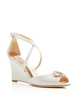 Badgley Mischka Abigail Crisscross Wedge Sandals