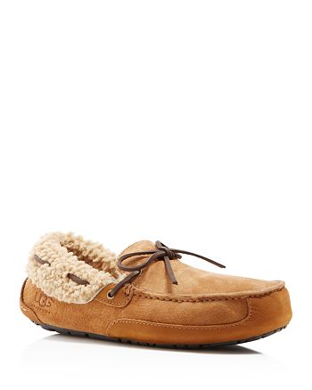 UGG® - Fleming Suede Slipper with Shearling Lining