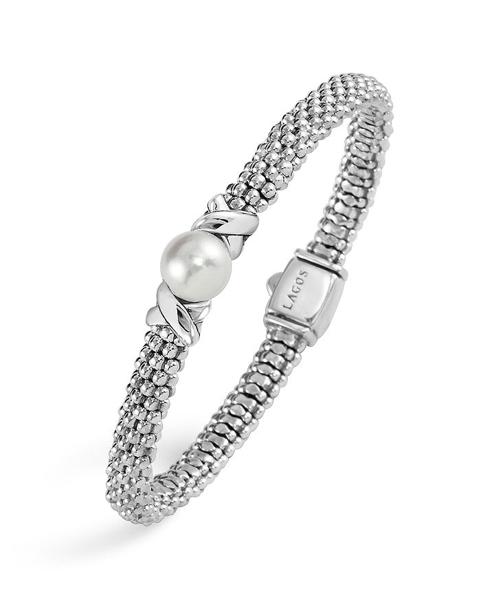 LAGOS - Sterling Silver Luna Caviar Bracelet with Cultured Freshwater Pearl