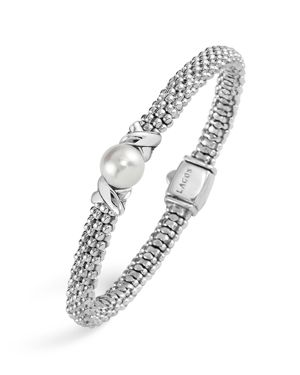 Lagos Luna Sterling Silver Caviar Cultured Freshwater Pearl Bracelet