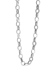 LAGOS - LAGOS Sterling Silver Link Caviar and Smooth Chain Necklace, 18""