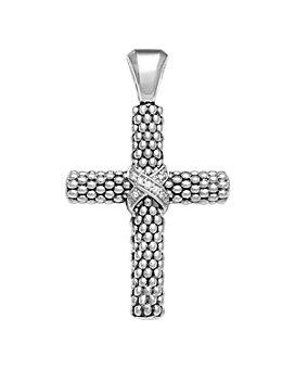 LAGOS - Diamond Caviar Cross Pendant in Sterling Silver