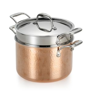 Lagostina Martellata Tri-Ply Hammered Copper 6-Quart Pastaiola Set