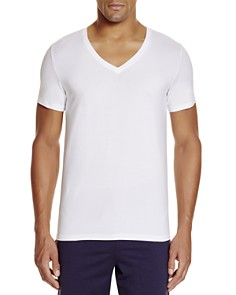 Hanro Stretch Cotton Superior V-Neck Short Sleeve Shirt - Bloomingdale's_0