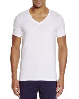Hanro Stretch Cotton Superior V-Neck Short Sleeve Shirt